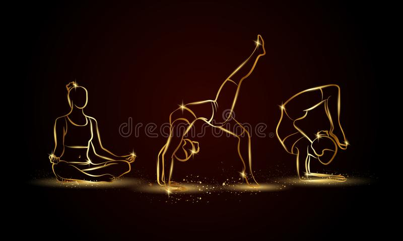 Η γιόγκα θέτει το σύνολο Χρυσή γραμμική απεικόνιση γιόγκας για το αθλητικά έμβλημα, το υπόβαθρο και το ιπτάμενο διανυσματική απεικόνιση