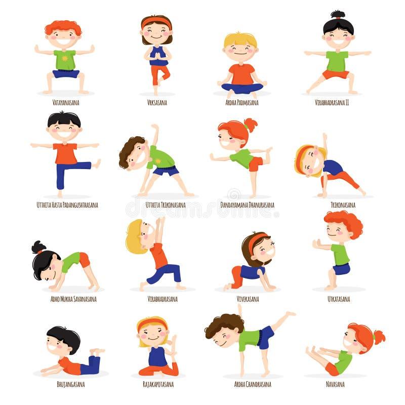 Η γιόγκα παιδιών παιδιών θέτει το σύνολο κινούμενων σχεδίων ελεύθερη απεικόνιση δικαιώματος