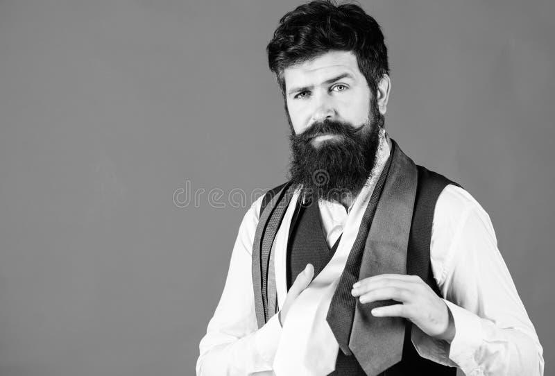 Η γκαρνταρόμπα μου είναι κομψή αλλά και επαγγελματική Ο γενειοφόρος άντρας διαλέγει μια γραβάτα απαραίτητη για την ντουλάπα του Μ στοκ φωτογραφία με δικαίωμα ελεύθερης χρήσης