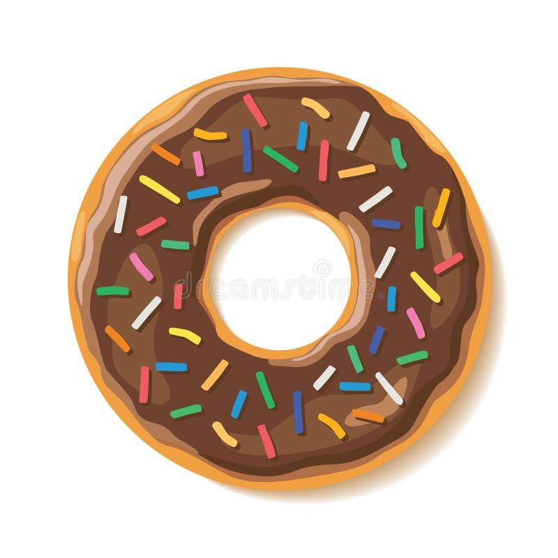 Η γλυκιά εύγευστη σοκολάτα ψεκάζει doughnut στοκ φωτογραφία