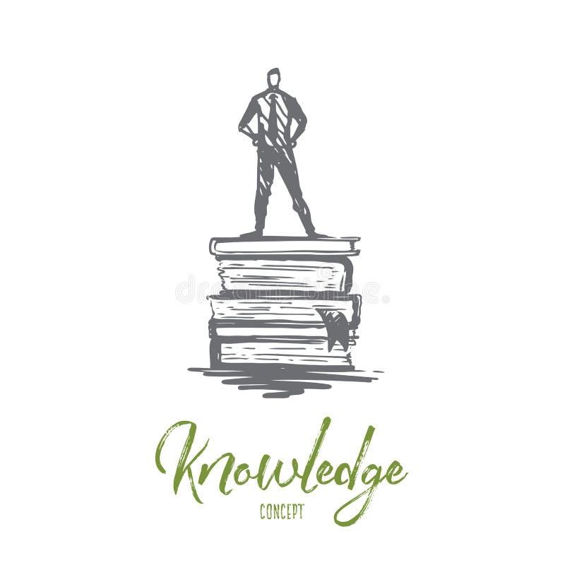 Η γνώση, βιβλίο, εκπαίδευση, πληροφορίες, μαθαίνει την έννοια Συρμένο χέρι απομονωμένο διάνυσμα απεικόνιση αποθεμάτων
