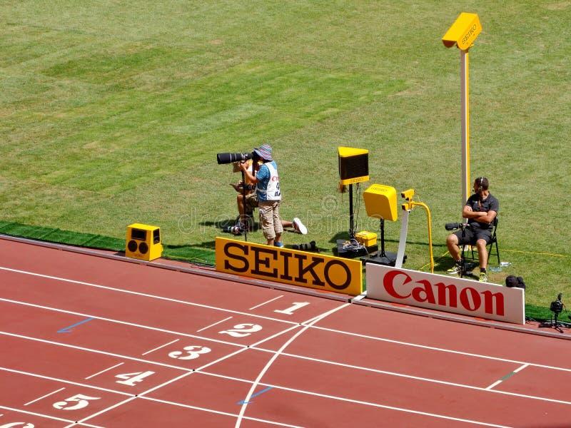 Η γραμμή λήξης του πρωταθλήματος παγκόσμιου αθλητισμού 2015 IAAF στο Πεκίνο στοκ φωτογραφία
