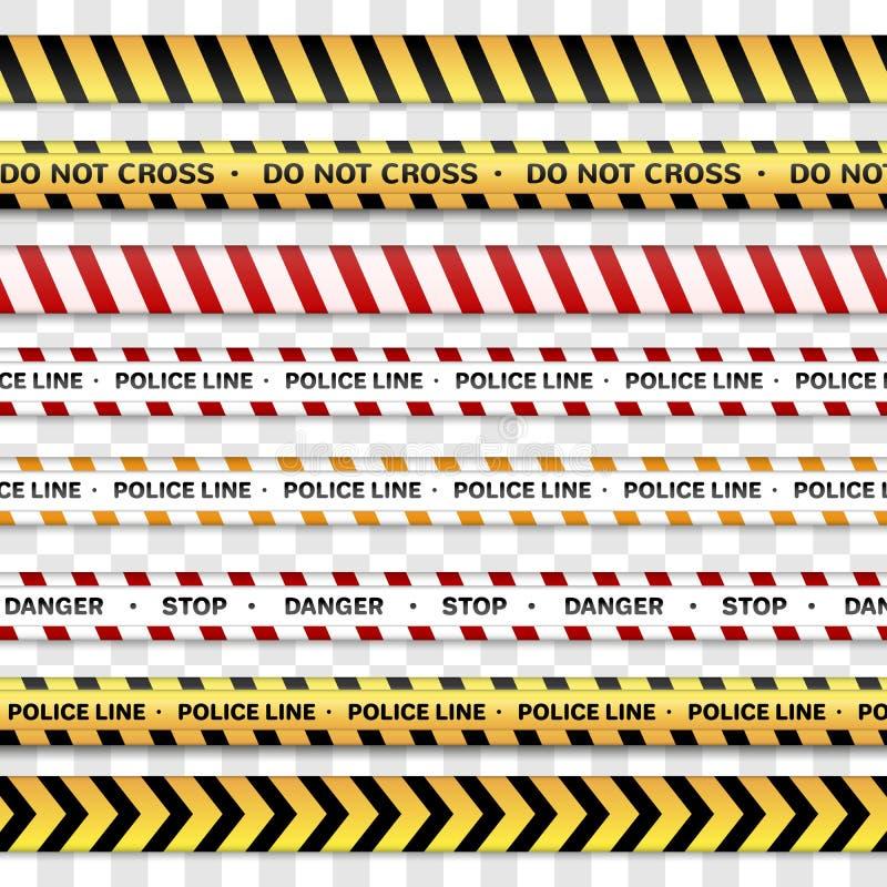Η γραμμή αστυνομίας και δεν διασχίζει, να προειδοποιήσει τις γραμμές που προειδοποιούν τις ταινίες Σημάδια κινδύνου που απομονώνο διανυσματική απεικόνιση