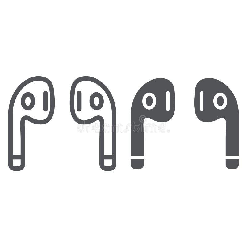 Η γραμμή και glyph το εικονίδιο ακουστικών Bluetooth, η μουσική και τα υγιή, ασύρματα ακουστικά υπογράφουν, διανυσματική γραφική  ελεύθερη απεικόνιση δικαιώματος
