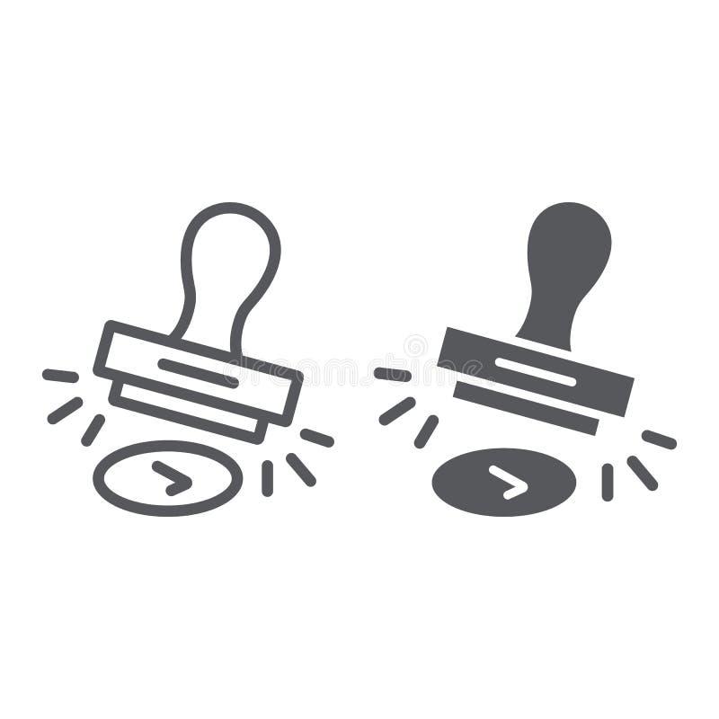 Η γραμμή και glyph το εικονίδιο γραμματοσήμων έγκρισης, επιτρέπουν και stamper, σημάδι σφραγιδών, διανυσματική γραφική παράσταση, διανυσματική απεικόνιση