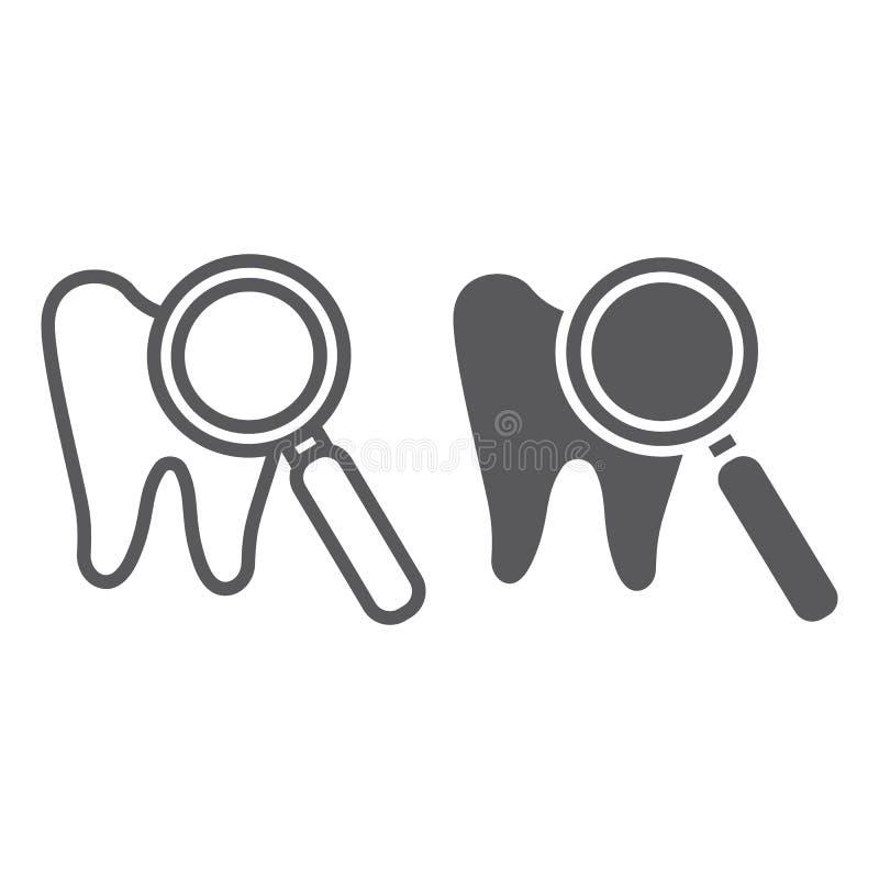 Η γραμμή και glyph το εικονίδιο εξέτασης δοντιών, το στόμα και οδοντικός, ο φακός και το δόντι υπογράφουν, διανυσματική γραφική π απεικόνιση αποθεμάτων
