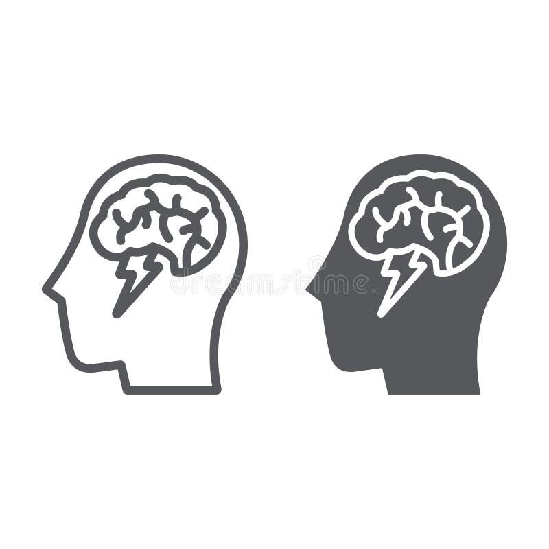 Η γραμμή και glyph το εικονίδιο καταιγισμού ιδεών, δημιουργικός και η ιδέα, ο εγκέφαλος και η βροντή υπογράφουν, διανυσματική γρα διανυσματική απεικόνιση