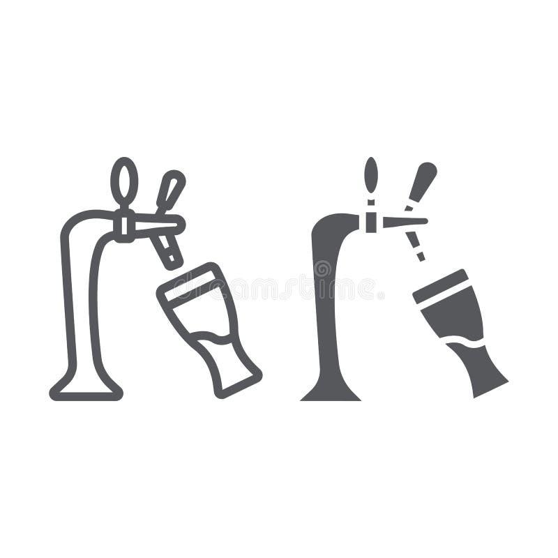 Η γραμμή και glyph το εικονίδιο μπύρας σχεδίων, το οινόπνευμα και το ποτό, η βρύση και το ποτήρι της μπύρας υπογράφουν, διανυσματ διανυσματική απεικόνιση