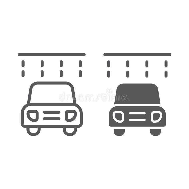 Η γραμμή και glyph το εικονίδιο πλύσης αυτοκινήτων, καθαρίζουν και υπηρεσία, αυτόματο σημάδι, διανυσματική γραφική παράσταση, ένα απεικόνιση αποθεμάτων