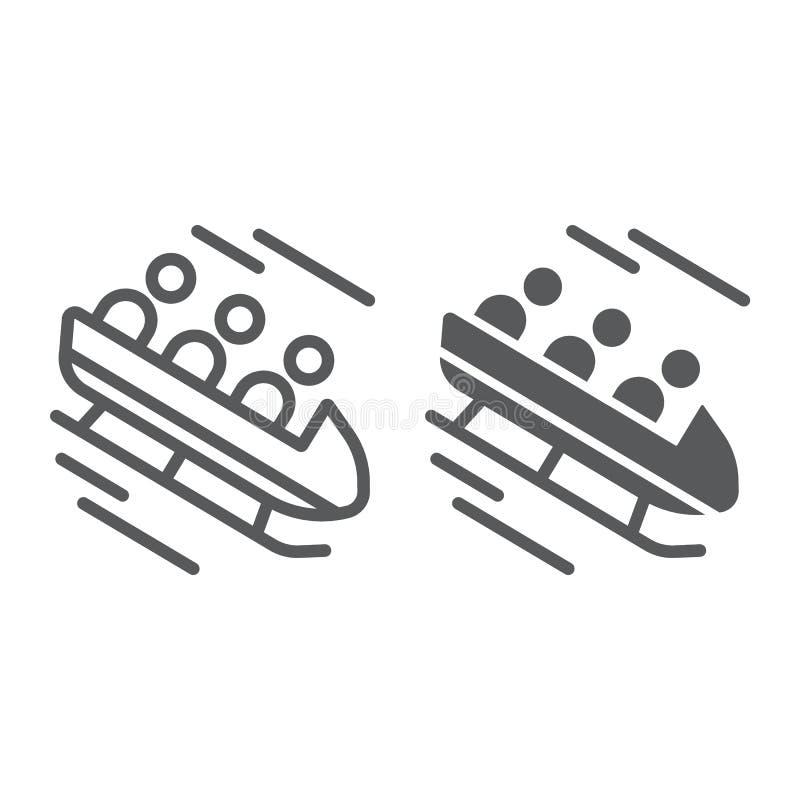Η γραμμή και glyph το εικονίδιο Bobsleigh, ο αθλητισμός και ο χειμώνας, το σημάδι, διανυσματική γραφική παράσταση, ένα γραμμικό σ ελεύθερη απεικόνιση δικαιώματος