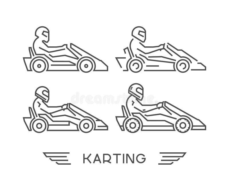 Η γραμμή πηγαίνει kart σύμβολο Διανυσματικό karting λογότυπο διανυσματική απεικόνιση