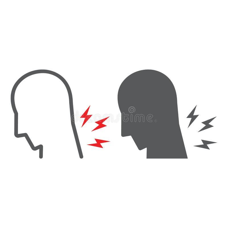 Η γραμμή πόνου λαιμών και glyph το εικονίδιο, σώμα και τραυματίζουν, σημάδι πόνου λαιμών, διανυσματική γραφική παράσταση, ένα γρα διανυσματική απεικόνιση