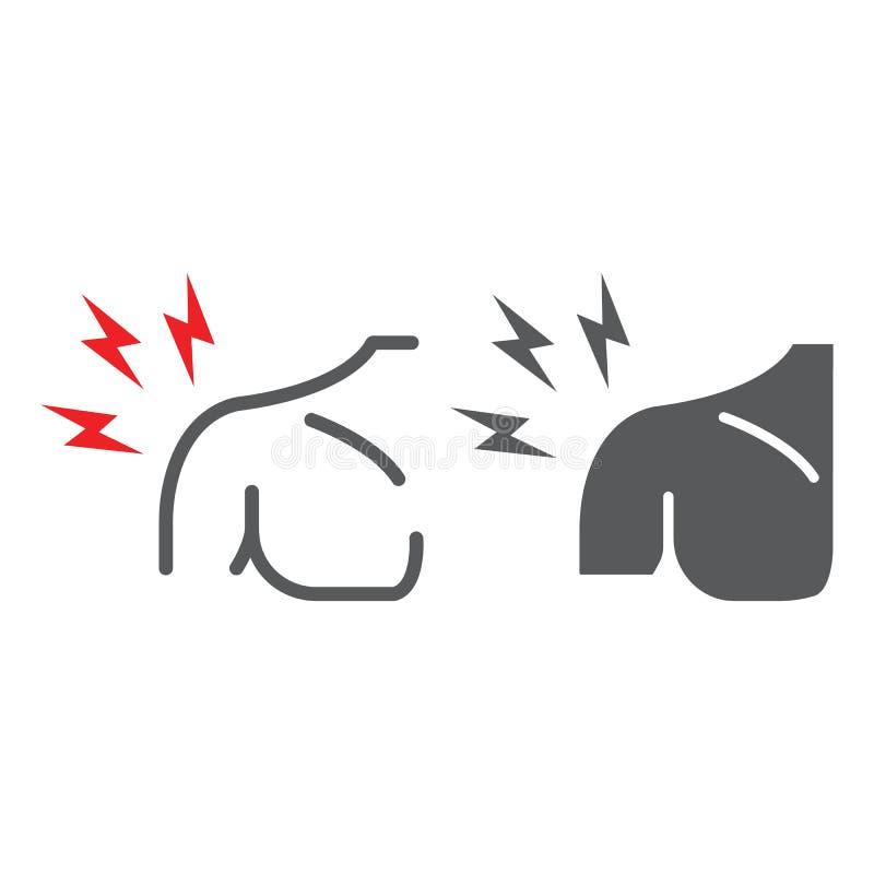 Η γραμμή πόνου ώμων και glyph το εικονίδιο, σώμα και τραυματίζουν, σημάδι πόνου ώμων, διανυσματική γραφική παράσταση, ένα γραμμικ ελεύθερη απεικόνιση δικαιώματος