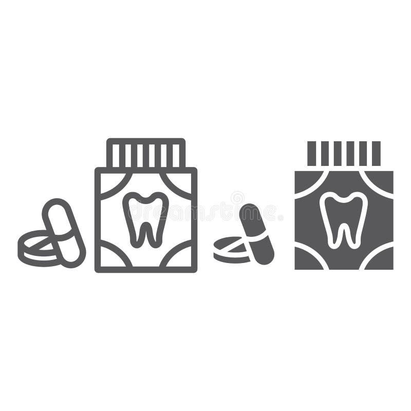 Η γραμμή ταμπλετών παυσιπόνων πονόδοντου και glyph το εικονίδιο, στοματολογία και οδοντικός, χάπια οδοντιατρικής υπογράφουν, διαν διανυσματική απεικόνιση