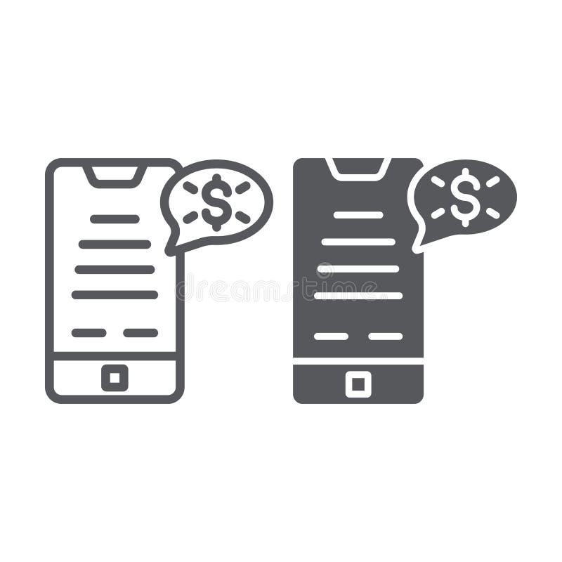 Η γραμμή τηλεφωνικών χρημάτων και glyph το εικονίδιο, χρηματοδότηση και πληρώνουν, κινητό σημάδι πληρωμής, διανυσματική γραφική π ελεύθερη απεικόνιση δικαιώματος