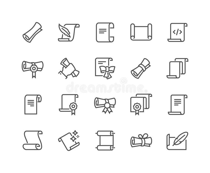 Η γραμμή τυλίγουν και τα εικονίδια εγγράφων απεικόνιση αποθεμάτων