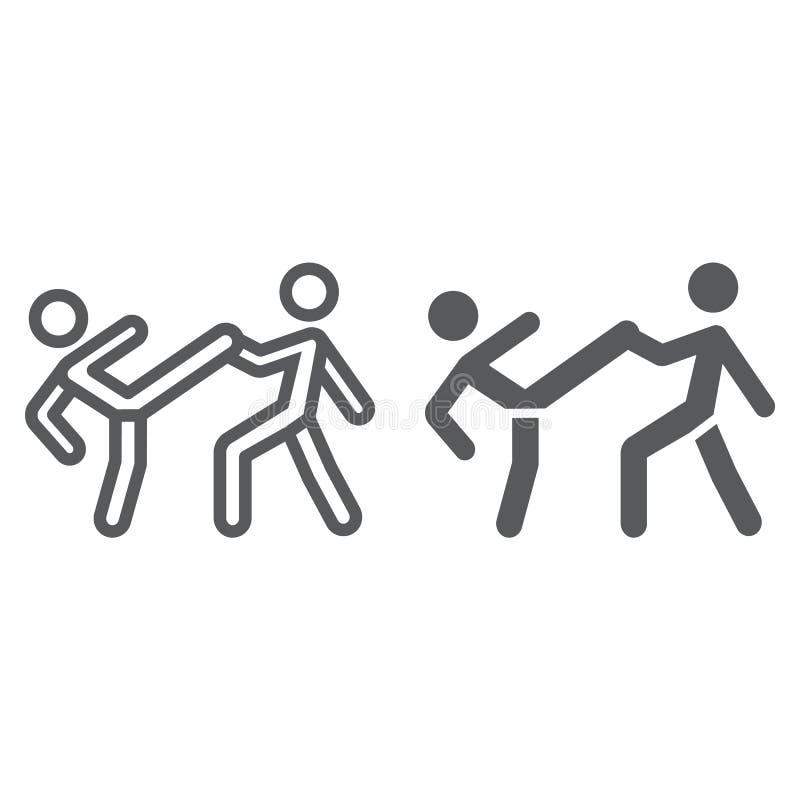 Η γραμμή Taekwondo και glyph το εικονίδιο, αθλητισμός και αρειανός, μαχητές υπογράφουν, διανυσματική γραφική παράσταση, ένα γραμμ ελεύθερη απεικόνιση δικαιώματος