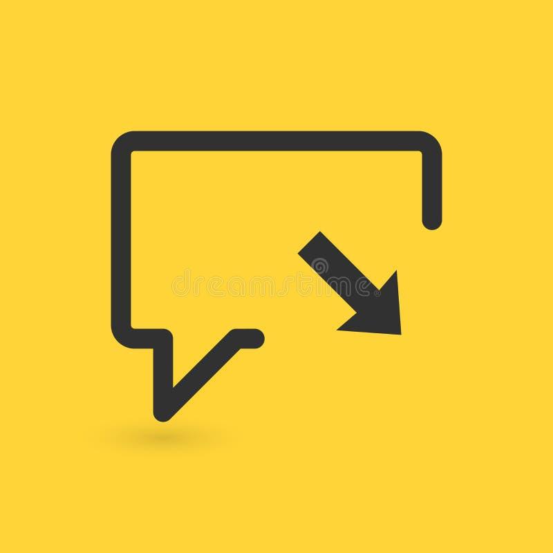 Η γραμμική συνομιλία φυσαλίδων με το βέλος μέσα, μεταφορτώνει ή εφεδρική έννοια, συνομιλίες συγχρονισμού Διανυσματική απεικόνιση  ελεύθερη απεικόνιση δικαιώματος