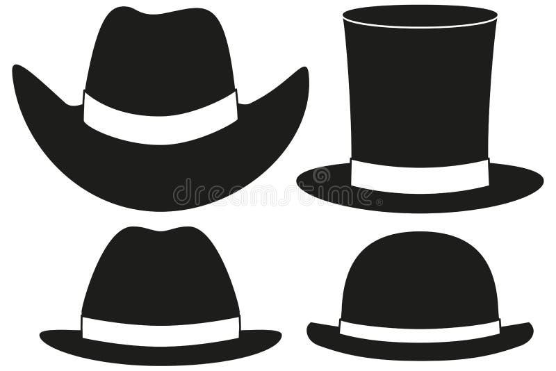 Η γραπτή σκιαγραφία καπέλων έθεσε το στοιχείο 4 διανυσματική απεικόνιση