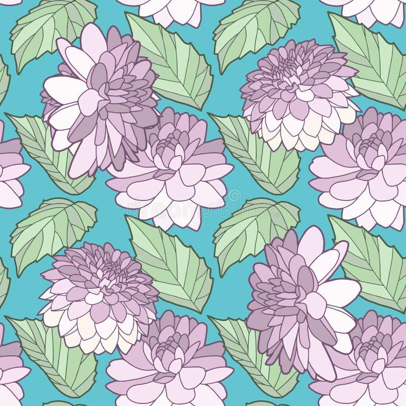 Η γραφική floral ντάλια απεικόνισης ή αυξήθηκε λουλούδια με το άνευ ραφής σχέδιο κρητιδογραφιών φύλλων στο υπόβαθρο κιρκιριών ελεύθερη απεικόνιση δικαιώματος