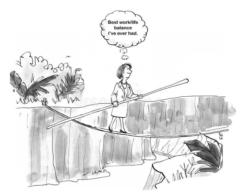 Η γυναίκα έχει την ισορροπία ζωής εργασίας διανυσματική απεικόνιση