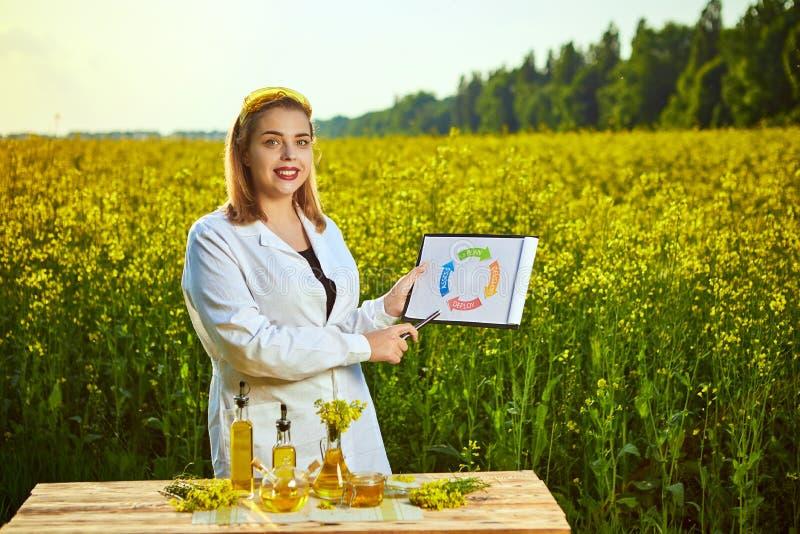 Η γυναίκα ή ο αγρότης γεωπόνων εξετάζει τον ανθίζοντας τομέα canola βιασμών χρησιμοποιώντας την ταμπλέτα με infographic στοκ φωτογραφία με δικαίωμα ελεύθερης χρήσης