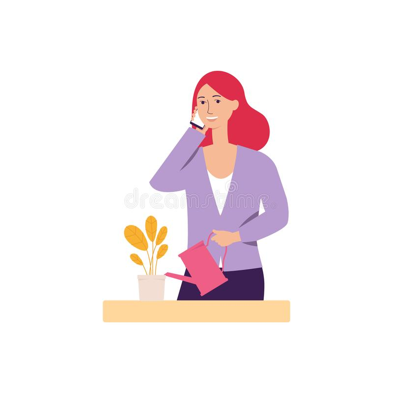 Η γυναίκα ή το νέο κορίτσι κρατά το κινητό τηλέφωνο κάνοντας την κλήση την επίπεδη διανυσματική απεικόνιση που απομονώνεται διανυσματική απεικόνιση