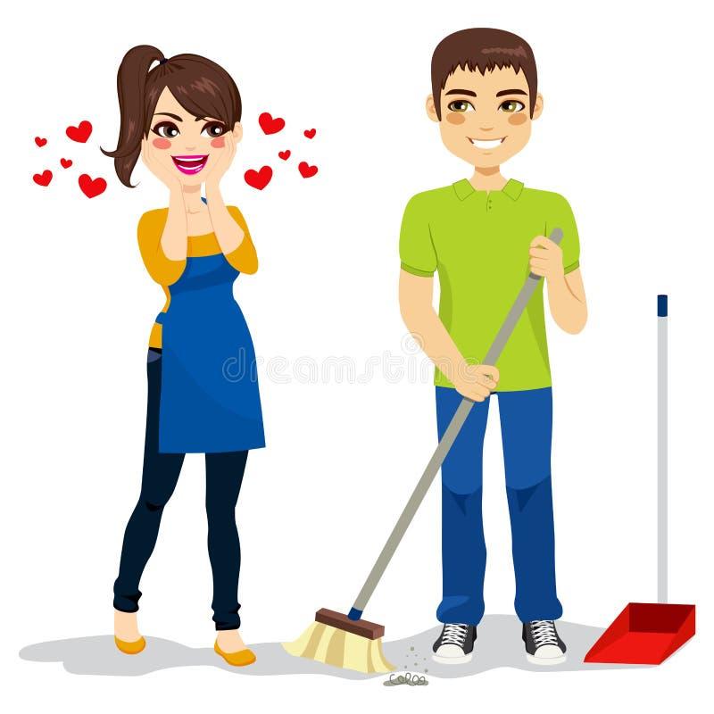 Η γυναίκα αγαπά τον καθαρισμό φίλων διανυσματική απεικόνιση