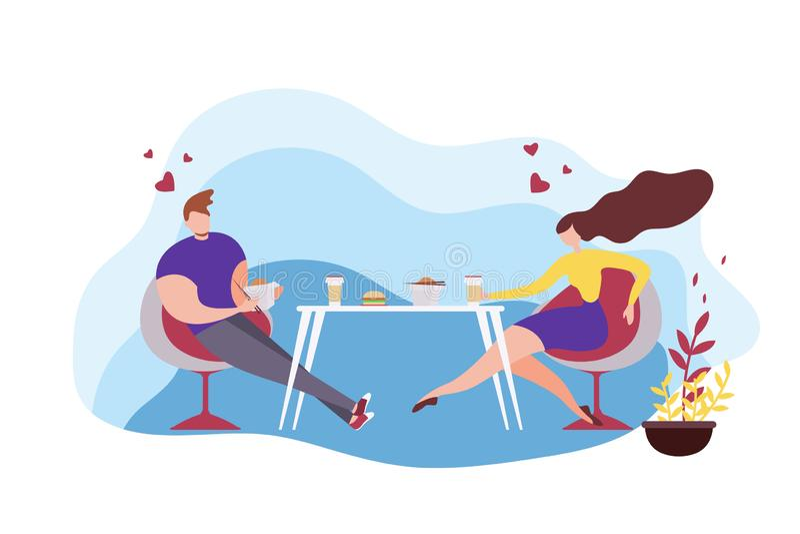 Η γυναίκα ανδρών κινούμενων σχεδίων κάθεται τον πίνακα τρώγοντας τα ασιατικά τρόφιμα ελεύθερη απεικόνιση δικαιώματος