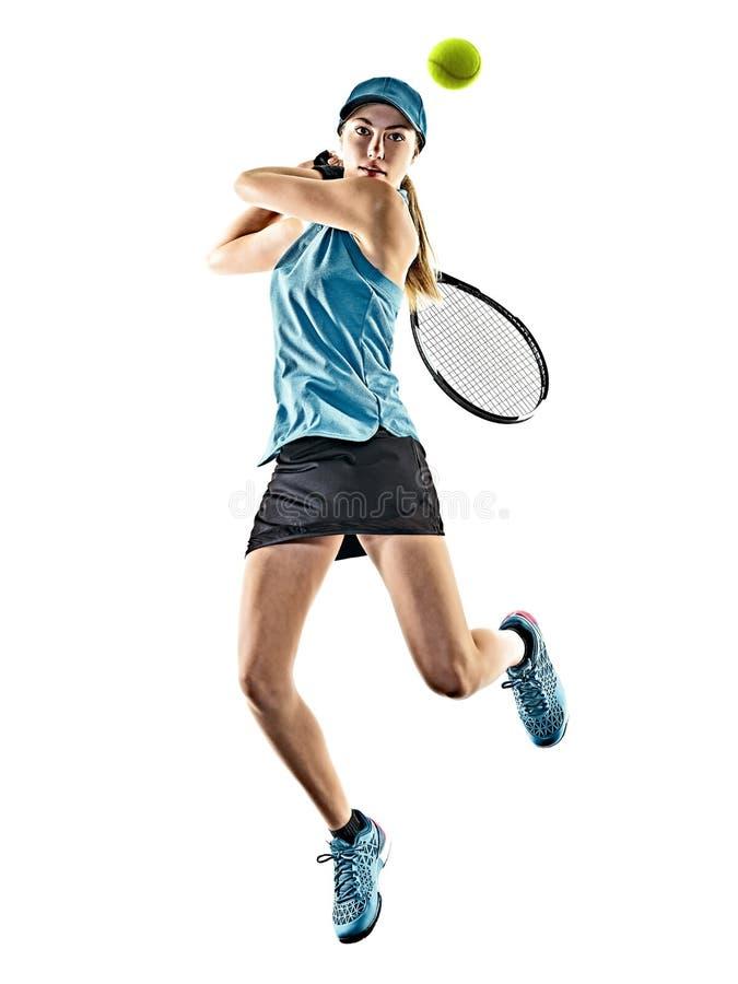 Η γυναίκα αντισφαίρισης απομόνωσε τη σκιαγραφία στοκ φωτογραφίες με δικαίωμα ελεύθερης χρήσης