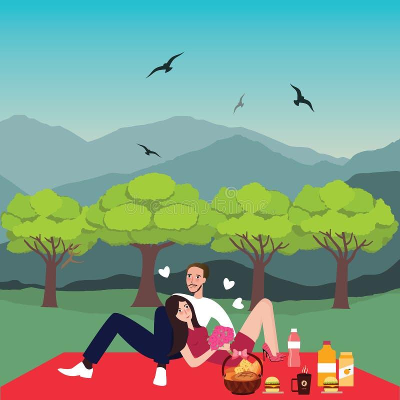 Η γυναίκα ανδρών πικ-νίκ ζεύγους στην υπαίθρια χρονολόγηση πάρκων φέρνει το καλάθι τροφίμων ελεύθερη απεικόνιση δικαιώματος