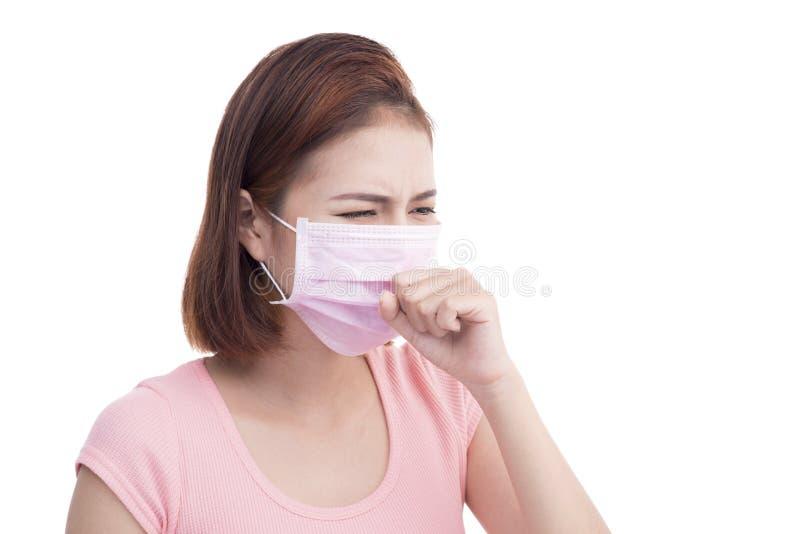 Η γυναίκα αρρωσταίνει Ασιατική νέα γυναικών μάσκα προσώπου ένδυσης ιατρική στοκ φωτογραφίες με δικαίωμα ελεύθερης χρήσης