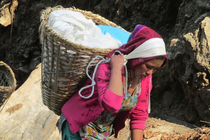 Η γυναίκα αχθοφόρων Sherpa φέρνει το βαρύ φορτωμένο καλάθι στο Νεπάλ στοκ εικόνες