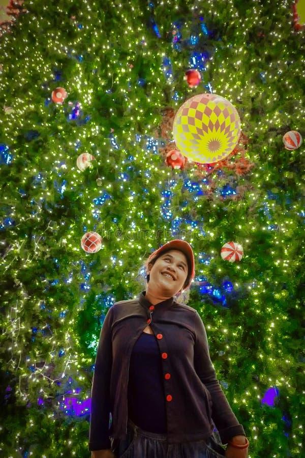 Η γυναίκα είναι ευτυχής στη Παραμονή Χριστουγέννων στοκ φωτογραφία με δικαίωμα ελεύθερης χρήσης