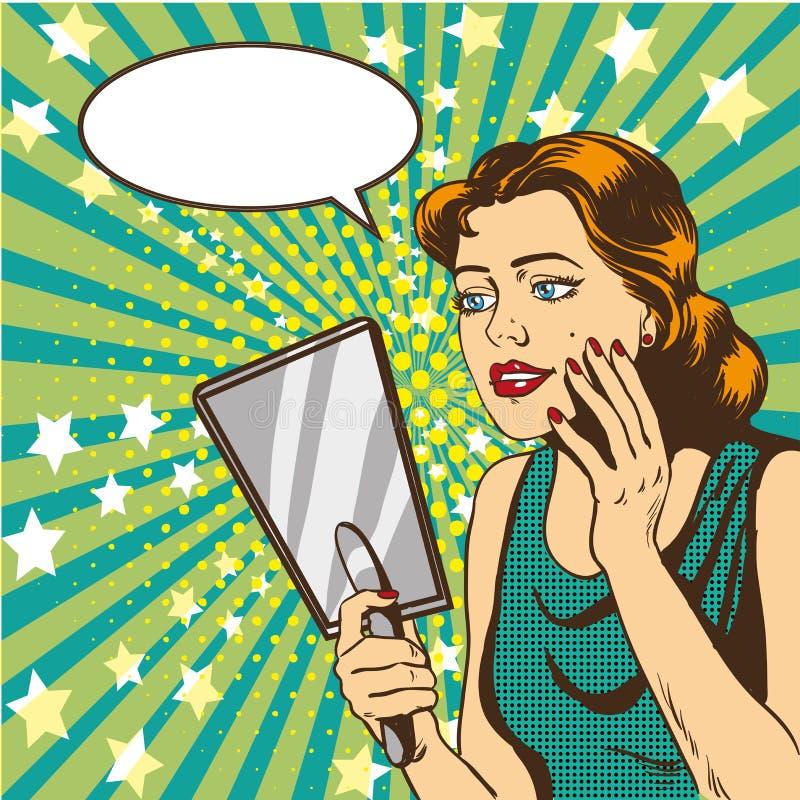 Η γυναίκα εξετάζει τη διανυσματική απεικόνιση καθρεφτών στο αναδρομικό κωμικό λαϊκό ύφος τέχνης γραφικό διάνυσμα λεκτικής ομιλίας διανυσματική απεικόνιση