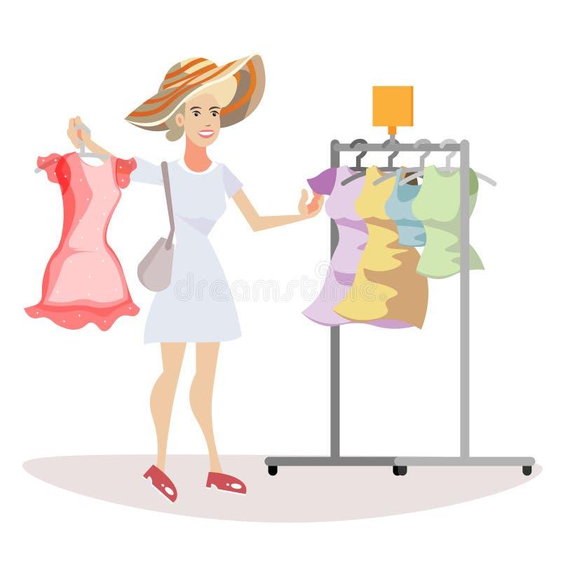 Η γυναίκα επιλέγει τι να φορέσει διανυσματική απεικόνιση
