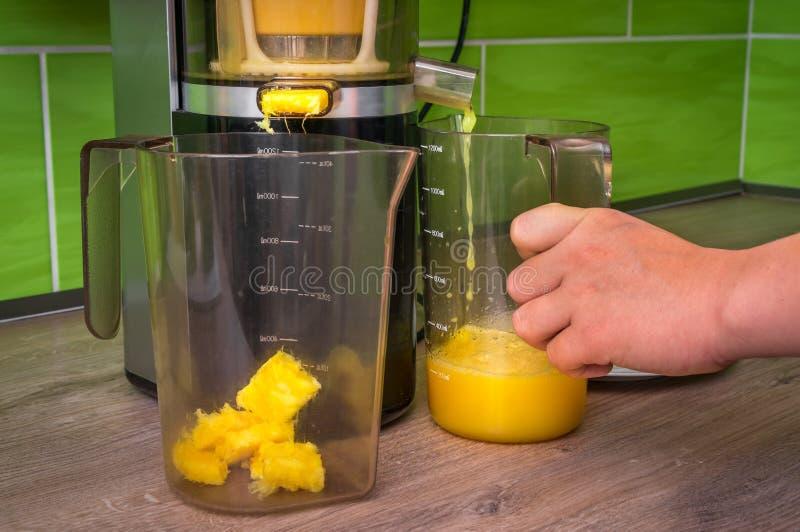 Η γυναίκα κάνει το φρέσκο χυμό με το juicer στοκ εικόνες με δικαίωμα ελεύθερης χρήσης