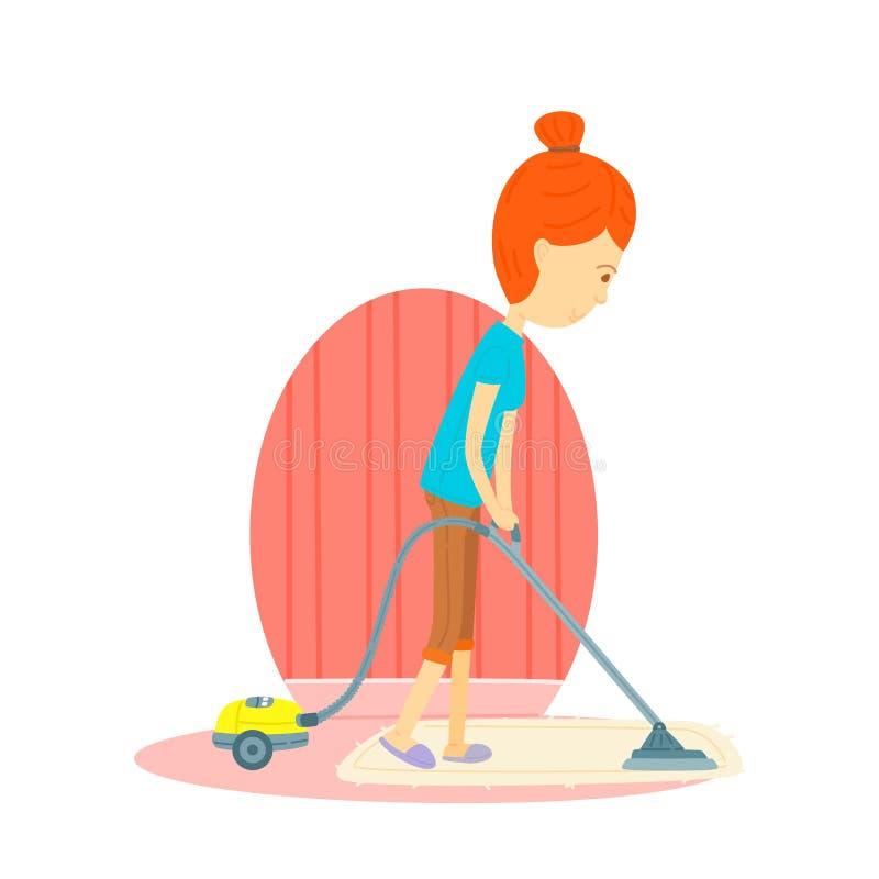 Η γυναίκα καθαρίζει το πάτωμα με μια ηλεκτρική σκούπα απεικόνιση αποθεμάτων