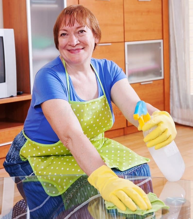 Η γυναίκα καθαρίζει το σπίτι στοκ εικόνες