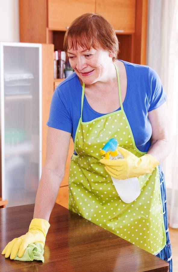 Η γυναίκα καθαρίζει το σπίτι στοκ φωτογραφία με δικαίωμα ελεύθερης χρήσης