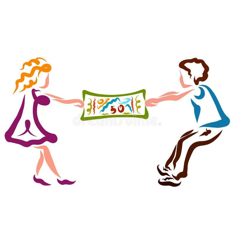 Η γυναίκα και ο άνδρας προσπαθούν να πάρουν τα χρήματα μεταξύ τους, την πλεονεξία, την επιχείρηση ή το παιχνίδι ελεύθερη απεικόνιση δικαιώματος