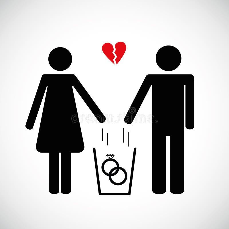 Η γυναίκα και ο άνδρας ρίχνουν την καρδιά στο εικονίδιο εικονογραμμάτων απορριμμάτων διανυσματική απεικόνιση