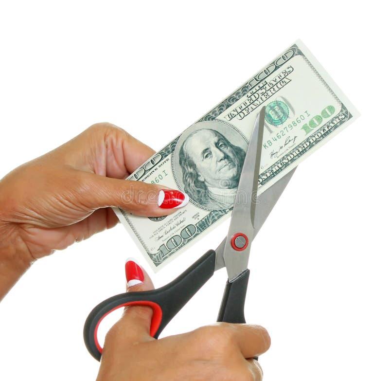 Η γυναίκα κόβει τα δολάρια στοκ εικόνες