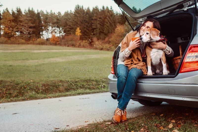 Η γυναίκα με το σκυλί κάθεται μαζί στο φορτηγό γατών και θερμαίνει цшер το καυτό τσάι Αυτόματο ταξίδι με την εικόνα έννοιας κατοι στοκ φωτογραφία