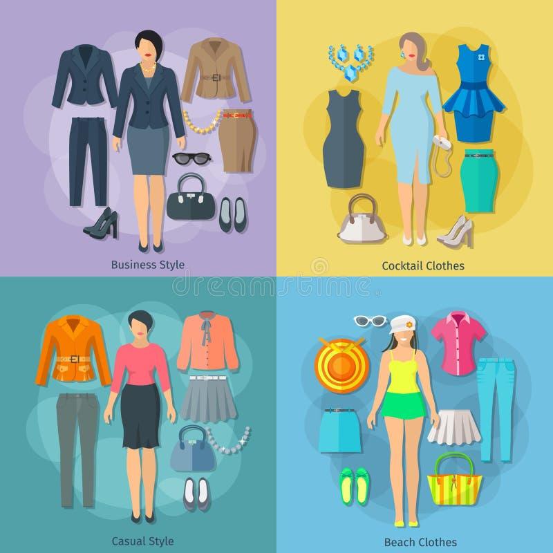 Η γυναίκα ντύνει τα τετραγωνικά εικονίδια έννοιας καθορισμένα ελεύθερη απεικόνιση δικαιώματος