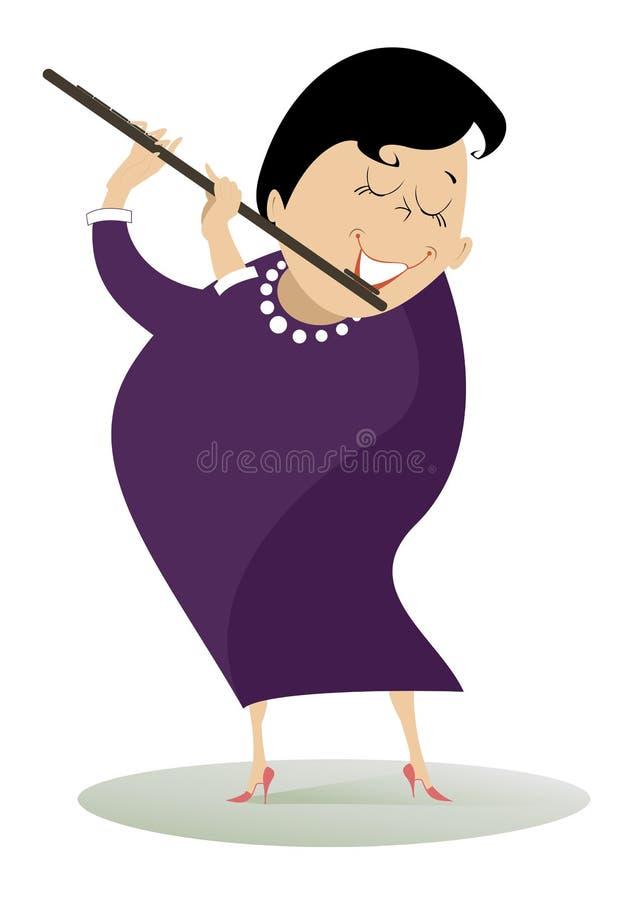 Η γυναίκα παίζει το φλάουτο διανυσματική απεικόνιση