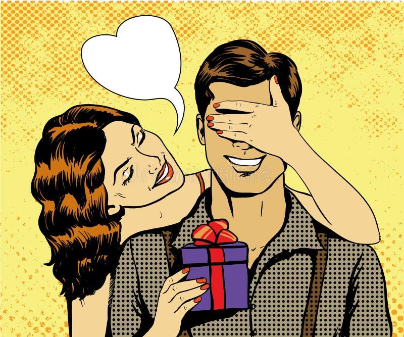 Η γυναίκα παρουσιάζει το δώρο στον άνδρα Διανυσματική απεικόνιση στο αναδρομικό κωμικό λαϊκό ύφος τέχνης Όμορφο κορίτσι με τα Χρι ελεύθερη απεικόνιση δικαιώματος