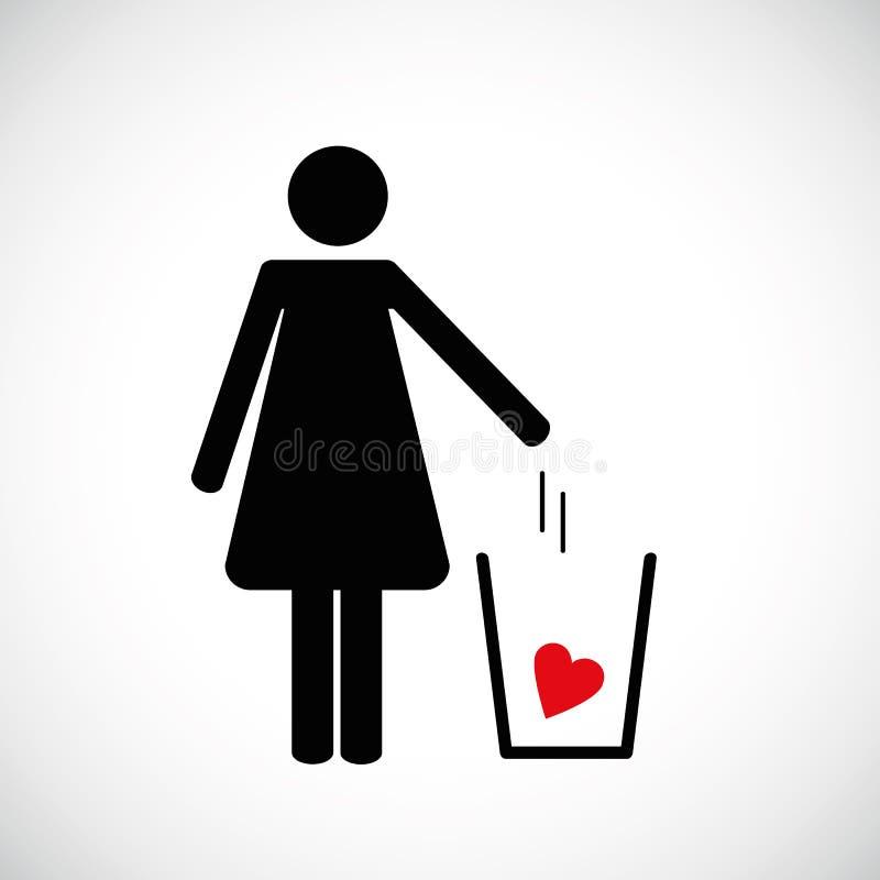 Η γυναίκα ρίχνει την καρδιά στο εικονίδιο εικονογραμμάτων απορριμμάτων διανυσματική απεικόνιση