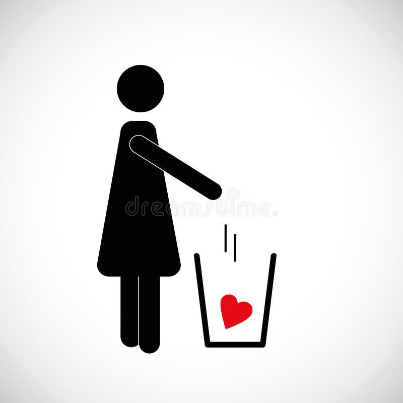 Η γυναίκα ρίχνει την κόκκινη καρδιά στο εικονίδιο εικονογραμμάτων απορριμμάτων διανυσματική απεικόνιση