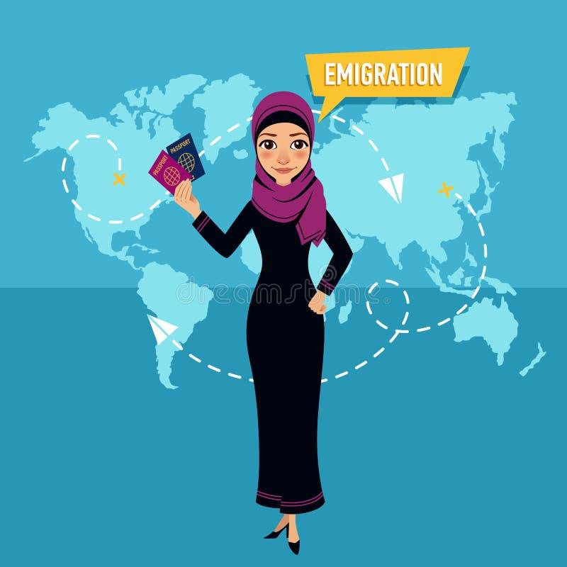 Η γυναίκα στέκεται και κρατά τα διαβατήρια και μιλά για την αποδημία διανυσματική απεικόνιση